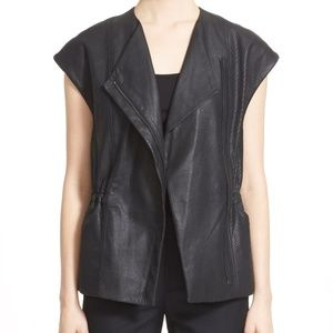 VINCE Perforated Leather Moto Vest